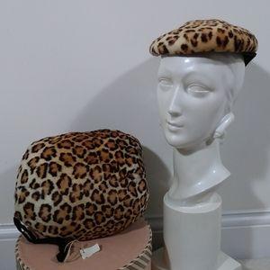 Vintage 50s leopard print fur muff and hat set
